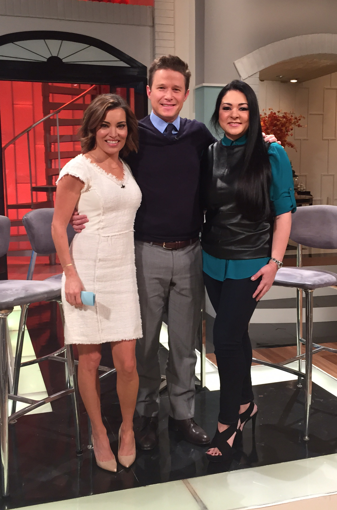 Sylvia with Billy Bush and Kit Hoover on Access Hollywood Live!, November 2014
